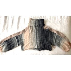 Free People Sweaters - Free People- Grey and Pink Wool Knitted Turtleneck